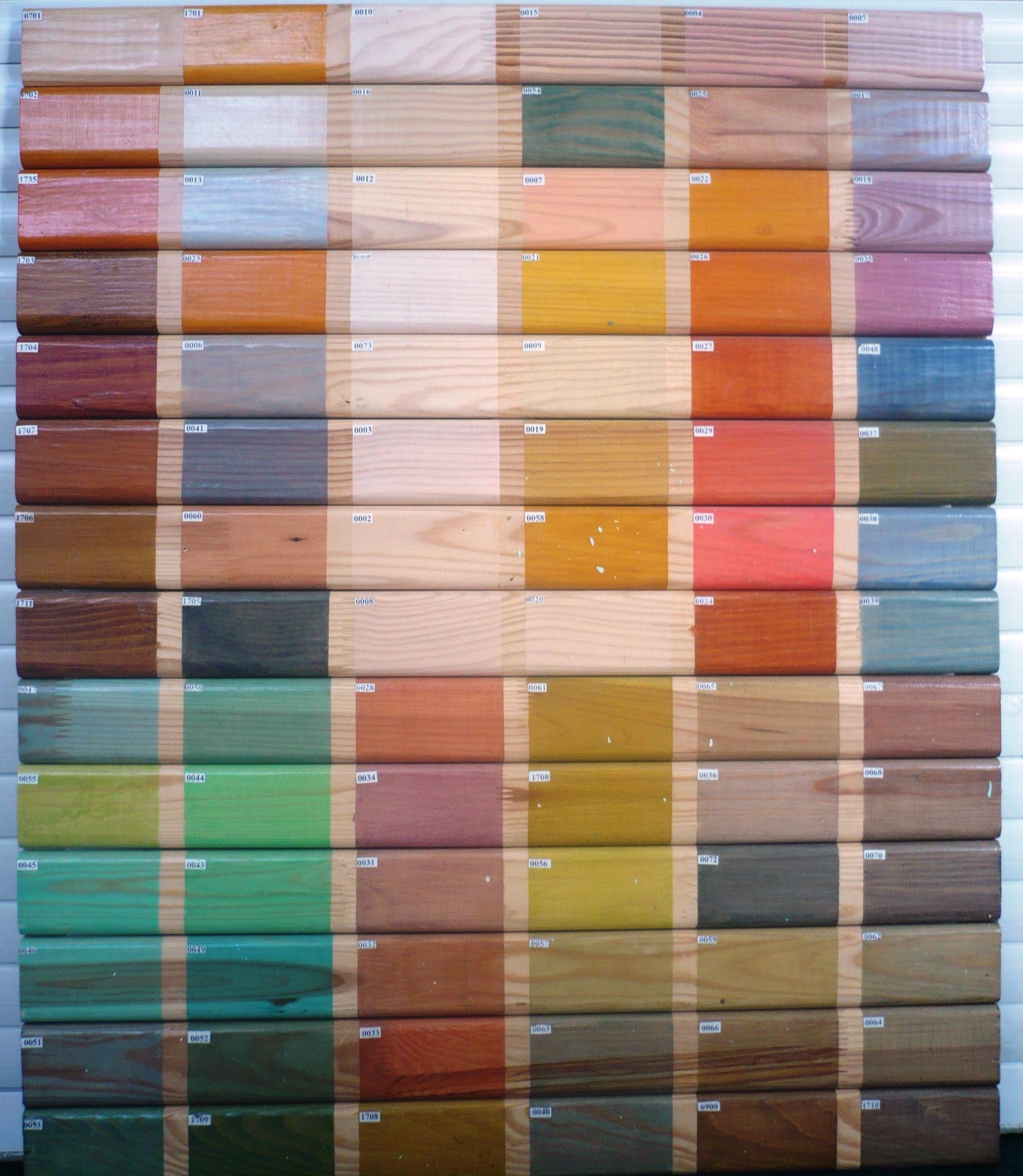 Ассортимент цветовых исполнений морилки для дерева