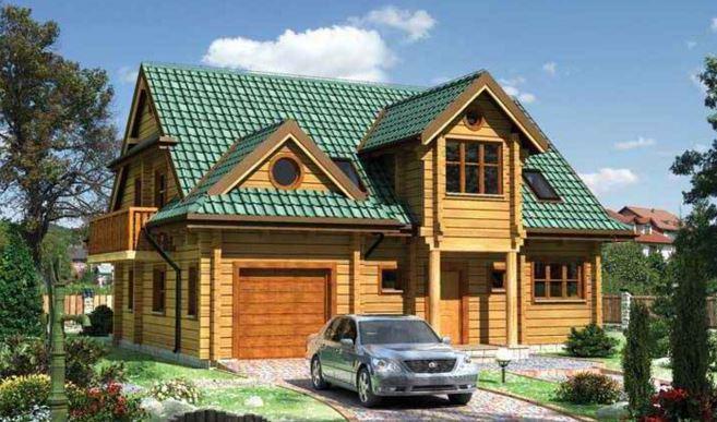 Брусовый дом с совмещенным гаражом