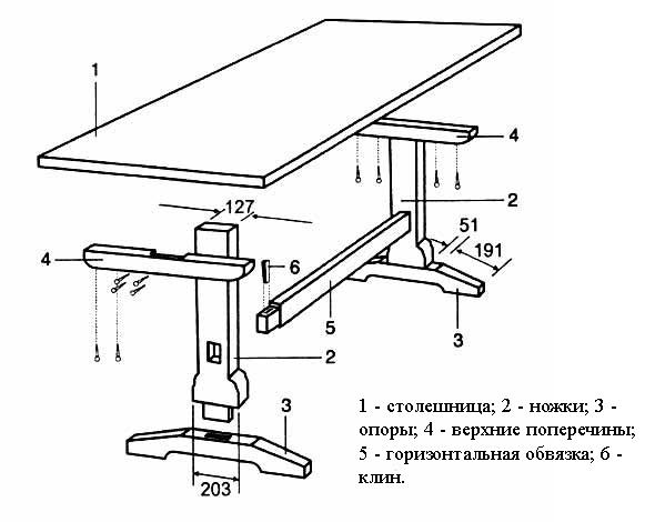 Чертёж стола из дерева