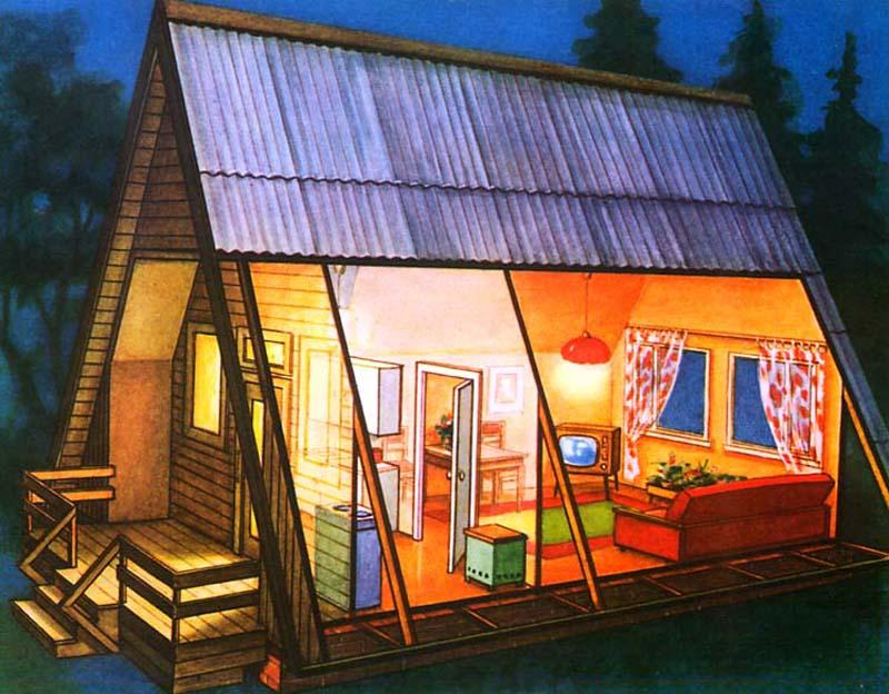 схема как построить бунгало дачный домик