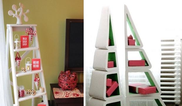 Декоративная деревянная стремянка может быть не только лестницей, но и полкой