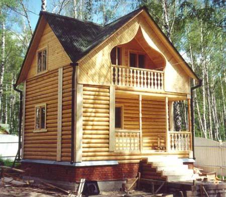 Деревянная двухэтажная баня