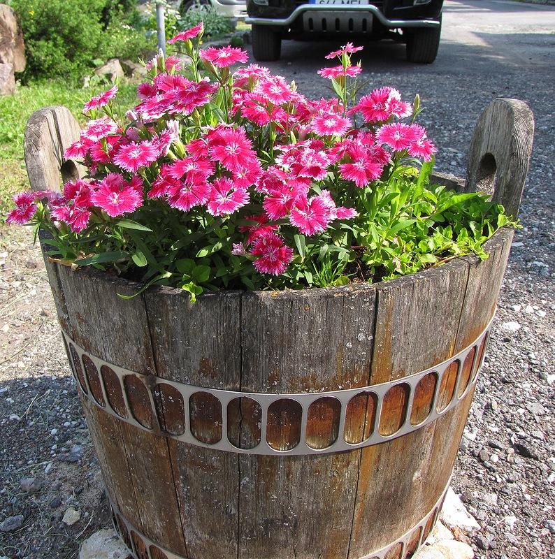 Деревянная кадка для цветов