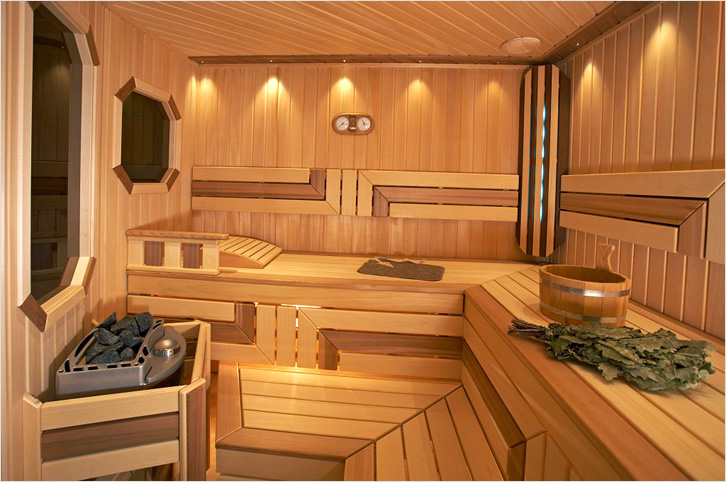 Деревянные купели для сауны отлично гармонируют с интерьером.