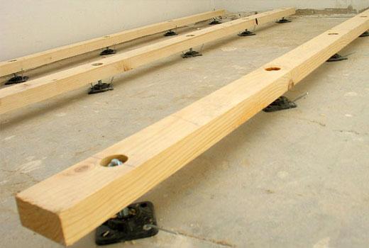 Деревянные опорные брусья с регулируемой высотой