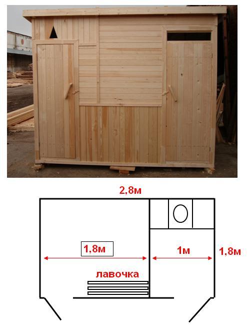 Деревянный летний душ для дачи, совмещенный с туалетом – практичное решение, позволяющее решить сразу два вопроса одновременно
