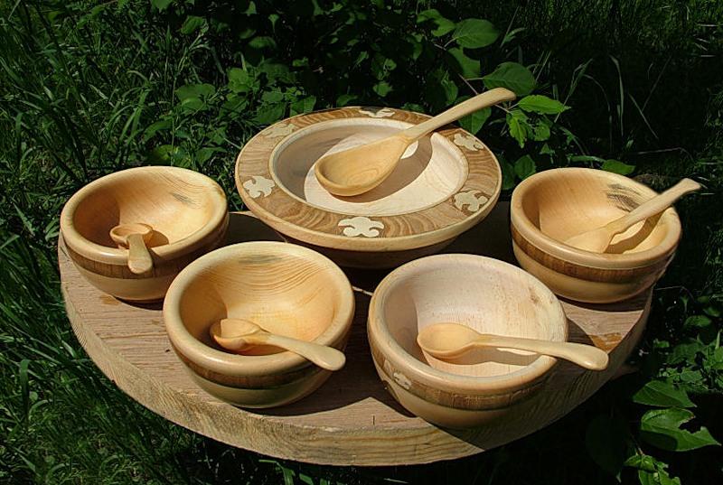 Деревянный набор для первых блюд.