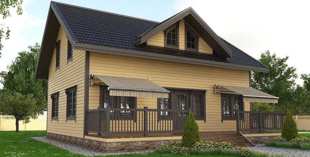 Дом из бруса в двух уровнях.