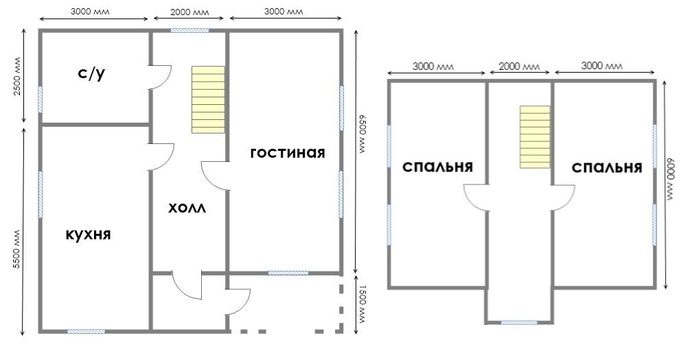 Двухэтажный дом 8 на 8 из брусас двумя спальнями