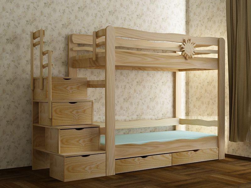 Двухъярусное спальное место в детской комнате с лесенкой и системой хранения для игрушек.