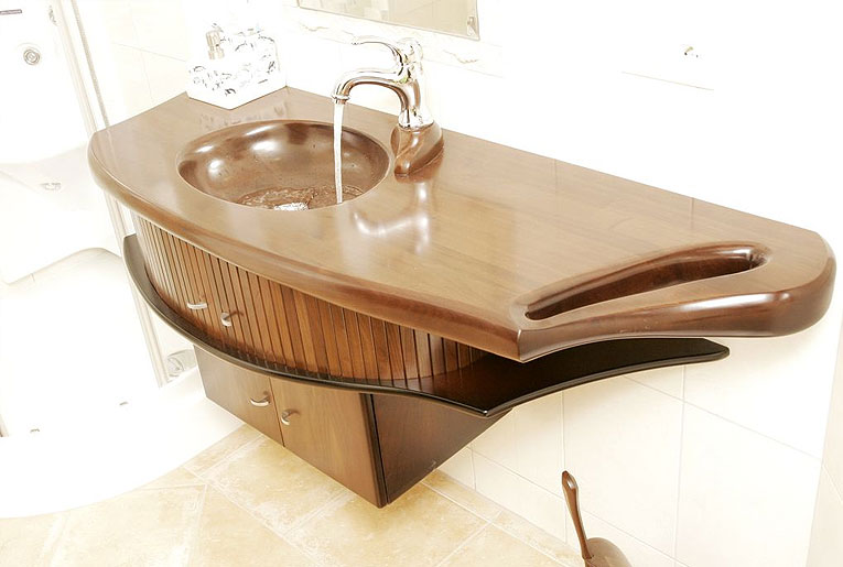 Эксклюзивная деревянная тумба под раковину в ванную ARPY