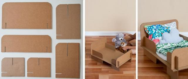 Еще один оригинальный вариант фанерной колыбели для куклы, где шаблоном является картон