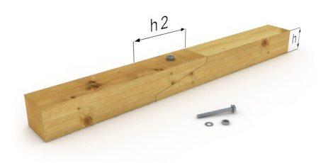 Еще один способ применения болтов - сращивание деревянной балки косым замком.