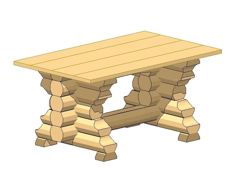 Стол из бревен чертежи