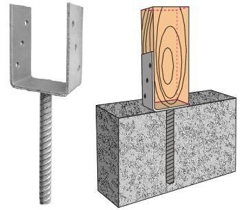 Еще один вариант монтажа стоек с использованием металлического крепежа, вмонтированного в бетонное основание