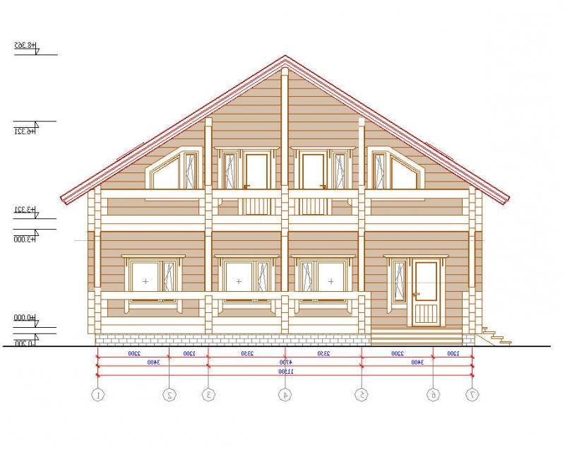 Эскиз брусового дома