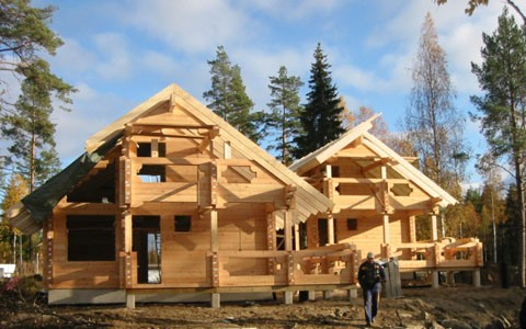 Финский дом – стропила и перекрытия выполнены из LVL-бруса