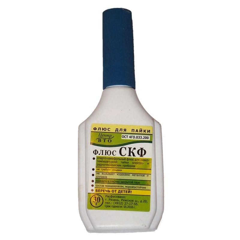 Флюс СКФ на фото - это типичный спиртовой лак. Он может использоваться для украшения небольших поделок из древесины.