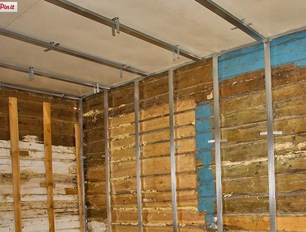 Фото каркаса под гипрок на стене из бруса