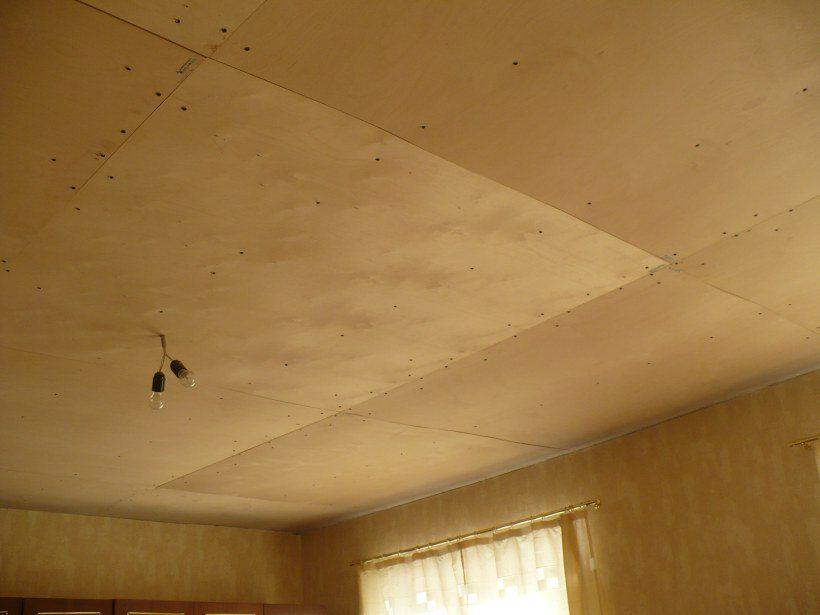 Фото потолка обшитого фанерой