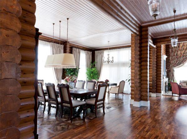 Интерьер деревянный дом бревно
