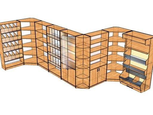 Из дерева можно соорудить целые системы для объектов торговли, такие стеллажи обойдутся в разы дешевле, чем в готовом виде