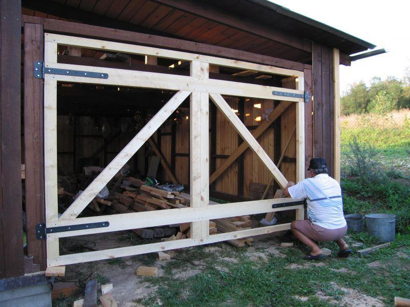Как сделать деревянные ворота в гараже фото