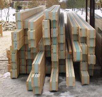 Клееный профилированный комбинированный брус для утепления стен