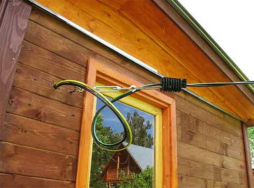Крепление вводного кабеля.