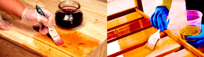 Лакировка свежей древесины.