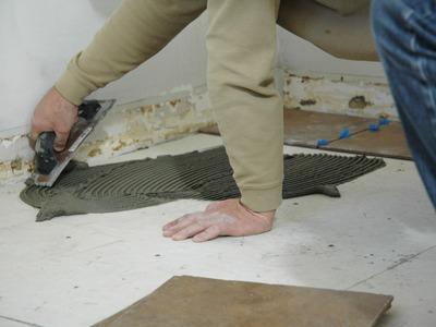Монтаж плитки на сухую стяжку