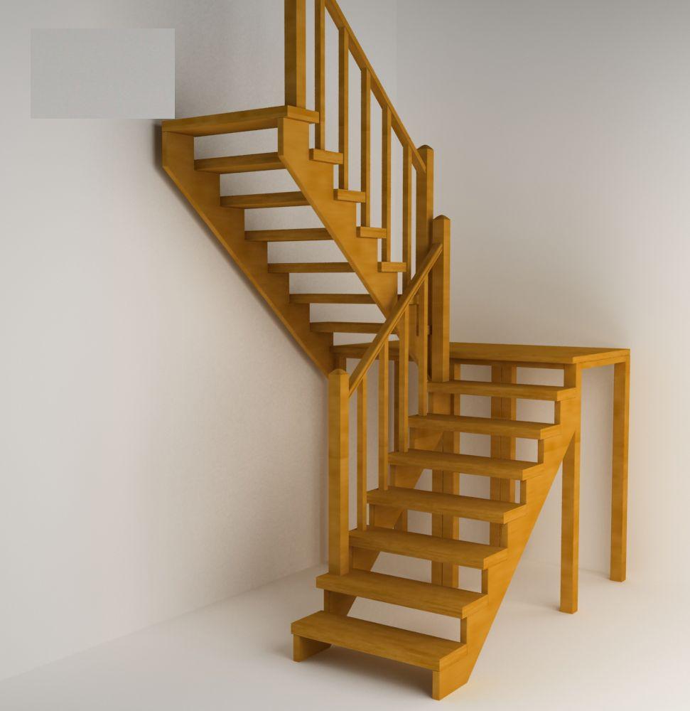 На фото - пример конструкции с лестничной площадкой на опорных столбиках
