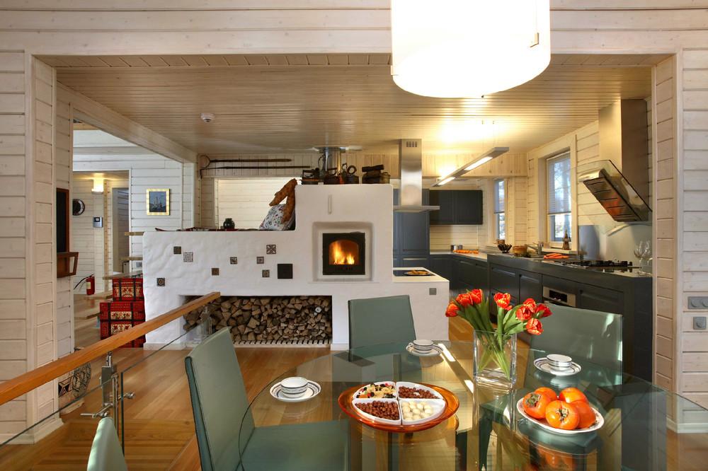 Кухня с печкой фото