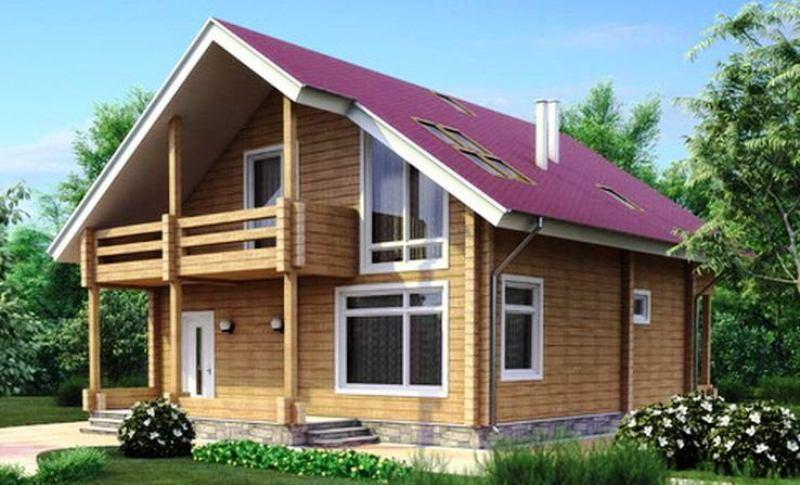 На фото: этот проект брусового дома 9х9 отличается большими окнами в фасадной части и просторным балконом