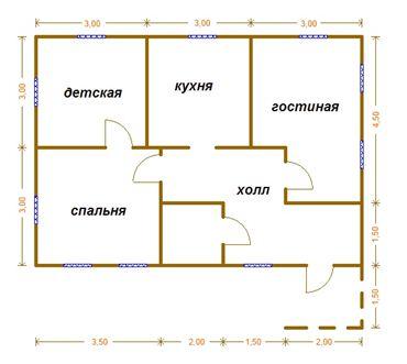На фото - можно самостоятельно построить одноэтажный дом 6х9 из бруса согласно этого плана