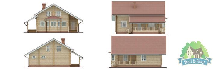 На фото показаны фронтальный, тыловой и боковые виды готового дома.