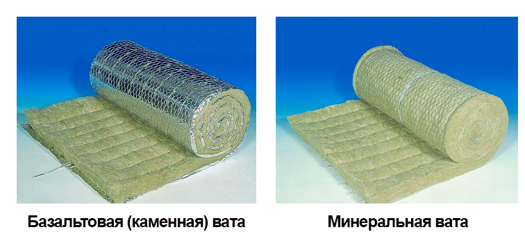 На фото показаны разновидности рулонной минеральной ваты для строительных работ.