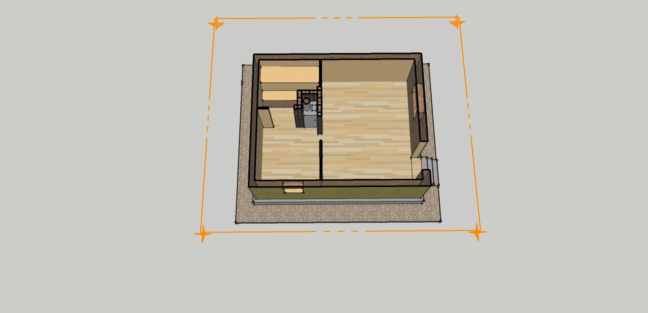 На фото представлено помещение бани 3х2