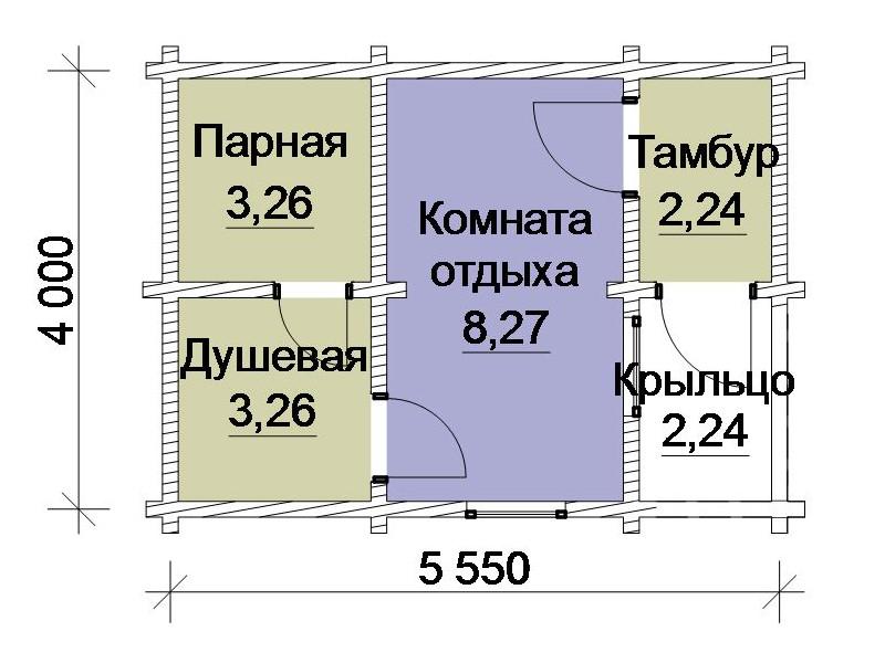 На рисунке продемонстрирован проект небольшой, но практичной баньки чуть более 20 квадратных метров
