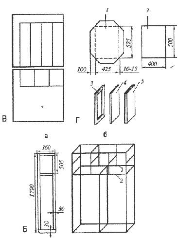 На схеме изображен деревянный каркас для шкафа