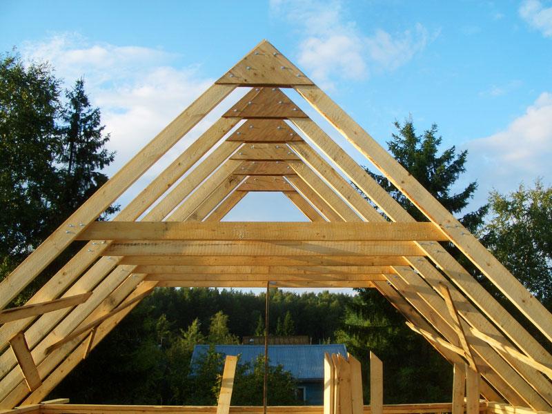Стропильная система двускатной крыши фото