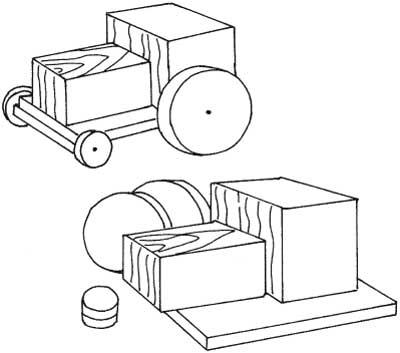Набор деталей для простого трактора из дерева
