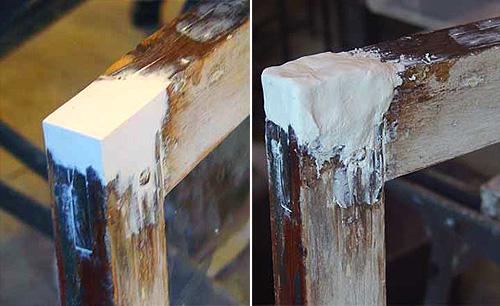 Наглядный пример, как при использовании обычной шпаклевки можно исправить угол рамы, выведя его практически до идеального состояния