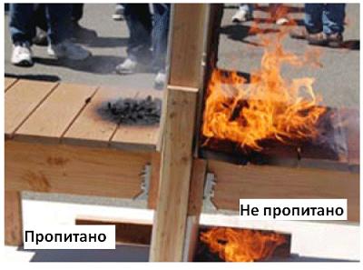 Наглядный пример взаимодействия с огнём пропитанной антипиреном древесины и непропитанной