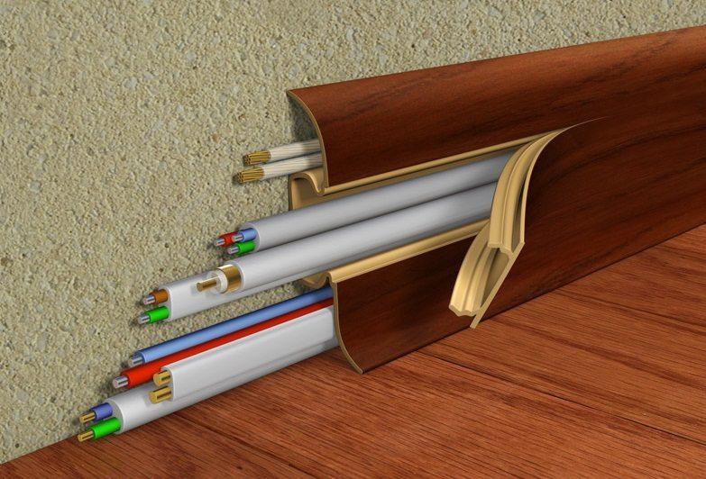 Напольный электротехнический плинтус из полиуретана