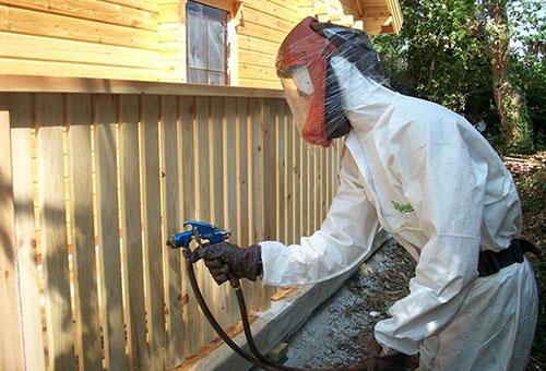 Обработка дерева от короеда производится в защитном костюме