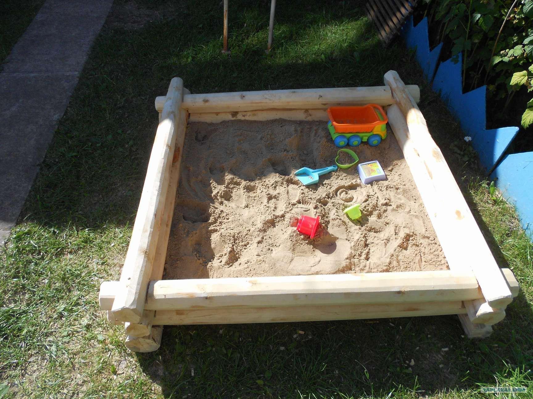 Песочница из бруса своими руками фото 57