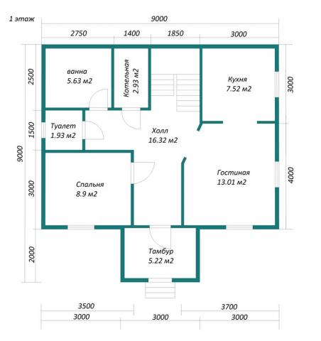 План первого этажа компактного дома