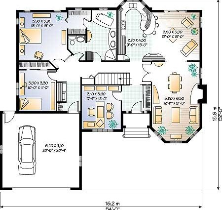 План размещения мебели и гаража.
