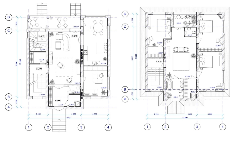 Поэтажные планы двухэтажных домов из бруса для большой семьи